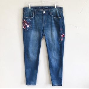 WHBM Embroidered Girlfriend Straight Jeans g8